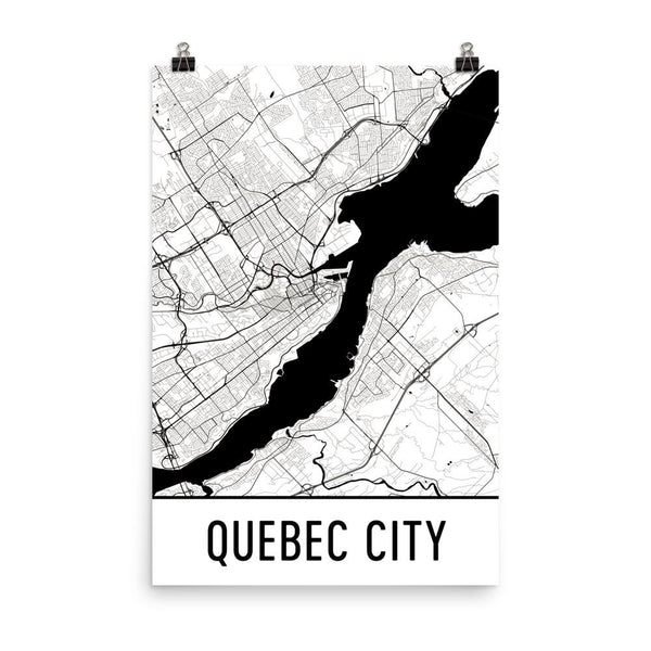 Quebec Street Map Poster White
