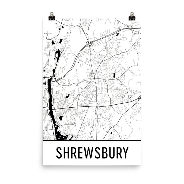 Shrewsbury MA Street Map Poster White