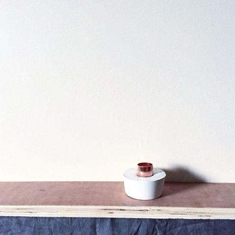 'WHITE EDITION' CONCRETE + COPPER WIDE CANDLE HOLDER