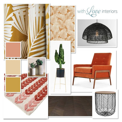 Contemporary moodboard in mustard and coral