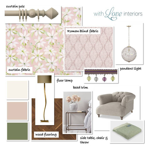 Classic living room moodboard in pink and sage green