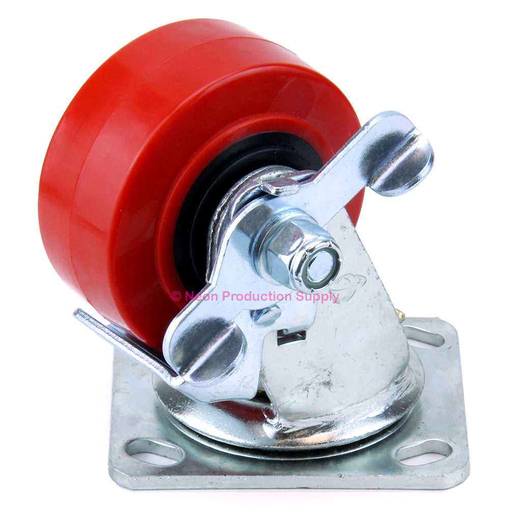 "Penn Elcom 4""x2"" 700lb Heavy Duty Swivel Caster with Side Brake, Red, 8408HDWB"
