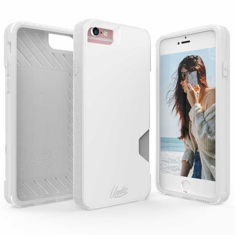 iPhone 6 Wallet Case, iPhone 6S Card Case Unnito CardTender Case, [Dual Layer] Protective [Custom] - Clear/White
