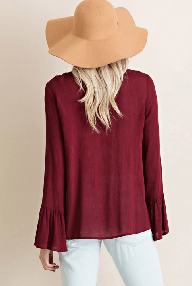 Lace Up Bell Sleeve Blouse - Burgundy Tops- Tristin