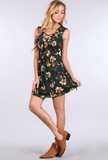 Laced Up Floral Ruffle Dress Dresses- Tristin