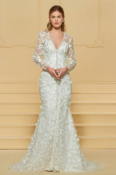 Full Sleeve Tulle Trumpet Wedding Gown with Dimensional Flower Detail and Fabric Button Embellishment - RDevine Fashion (Wedding & Bridal)