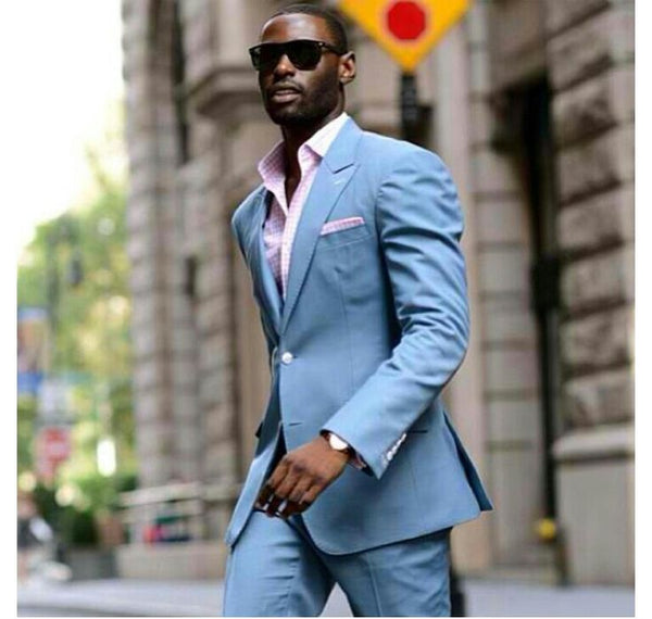 (MTM) Tapered Baby Blue Suit - RDevine Fashion (Wedding & Bridal)