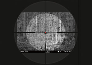 Pulsar Forward DFA75 Digital Clip-On Night Vision Scope, showing alignment reticle
