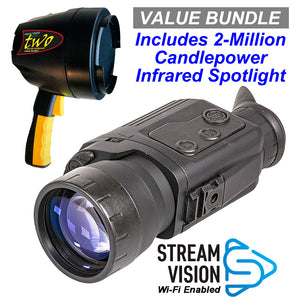 Pulsar Digiforce 860RT Digital Wi-Fi Enabled Night Vision Scope / 2-Million Candlepower Infrared Spotlight Value Bundle