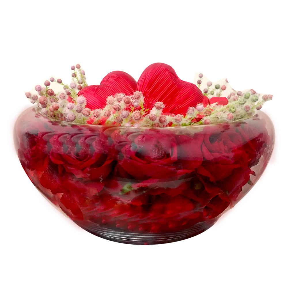 Glass Heart Round Chocolate Vase