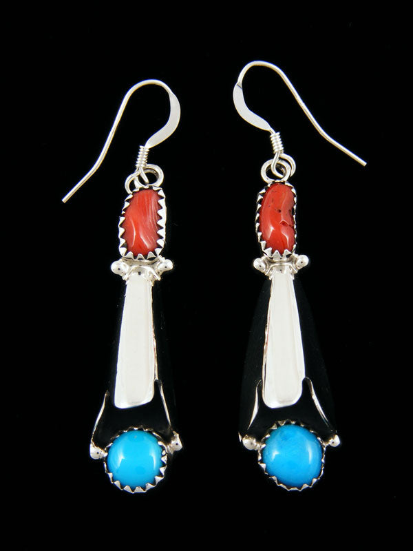 Turquoise and Coral Earrings with Flute by Roger Pino - PuebloDirect.com