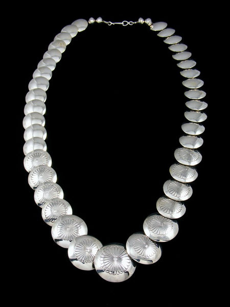 Native American Sterling Silver Disc Bead Necklace