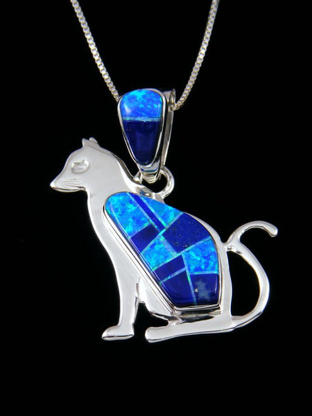 Native American Lapis and Opalite Cat Inlay Pendant