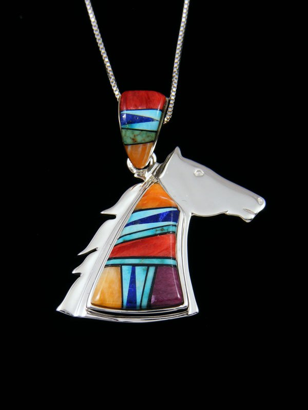Native American Spiny Oyster Horse Inlay Reversible Pendant