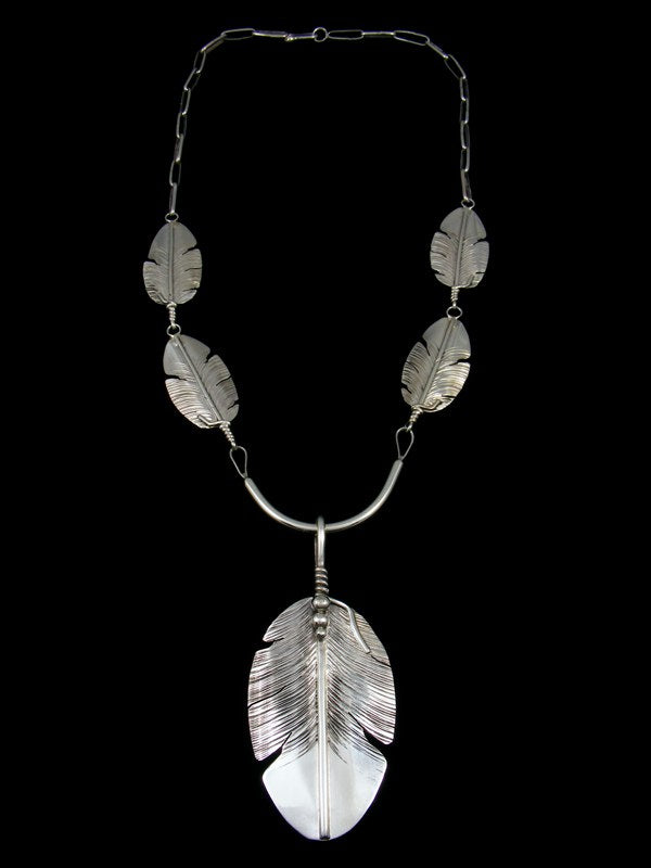 Navajo Sterling Silver Feather Necklace