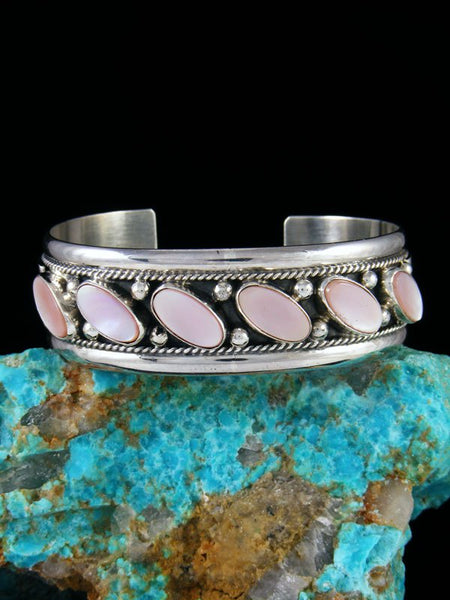 Native American Sterling Silver Pink Shell Bracelet