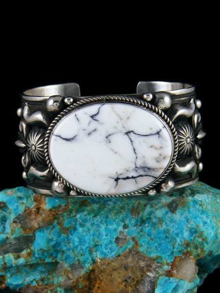 Native American Indian Jewelry Sterling Silver White Buffalo Bracelet