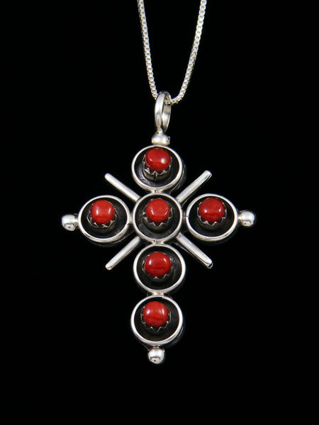 Sterling Silver Zuni Reversible Turquoise and Coral Cross Pendant
