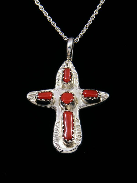 Sterling Silver Zuni Coral Cross Necklace