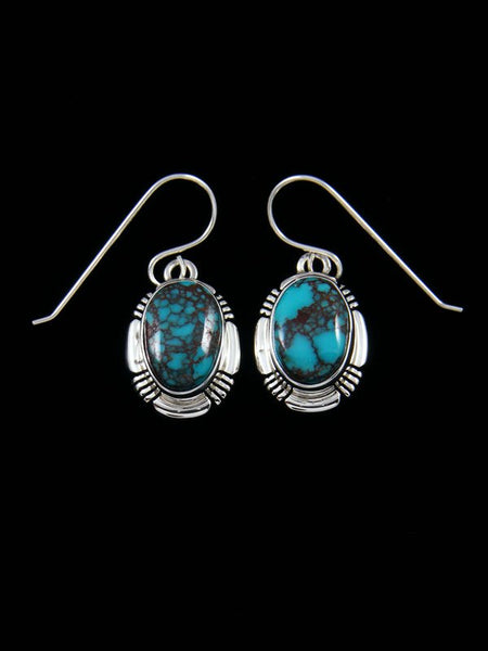 Navajo Egyptian Prince Turquoise Sterling Silver Dangle Earrings