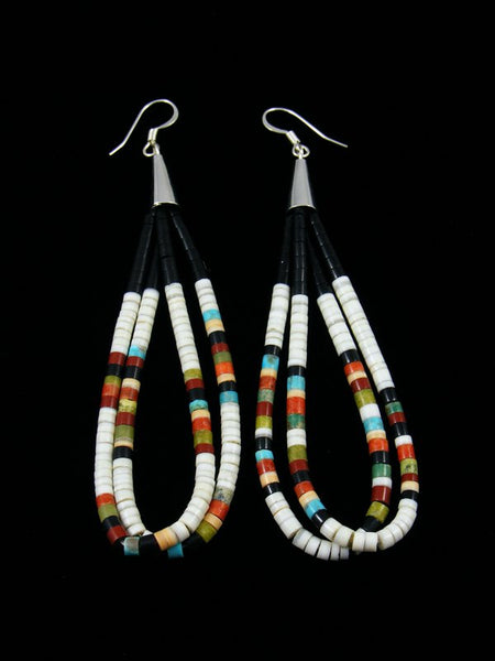 White Shell and Turquoise and Heishi Dangle Earrings