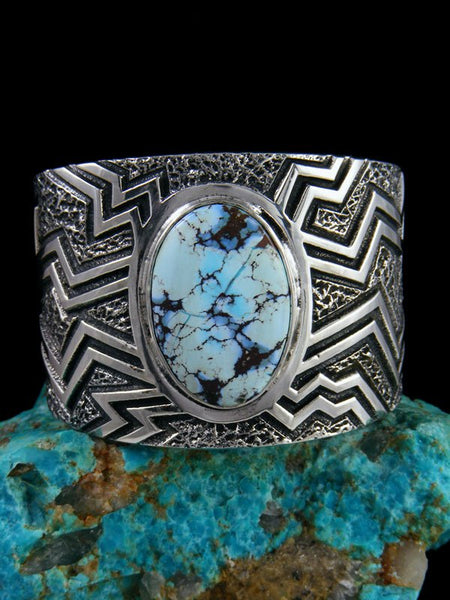 Native American Tufa Cast Sterling Silver Golden Hill Turquoise Bracelet