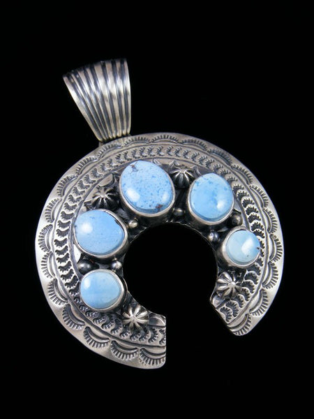 Navajo Crafted Sterling Silver Golden Hill Turquoise Naja Pendant