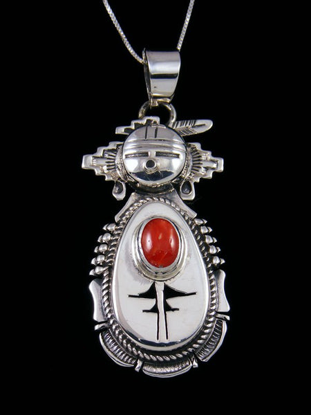 Native American Sterling Silver Coral Yei Pendant