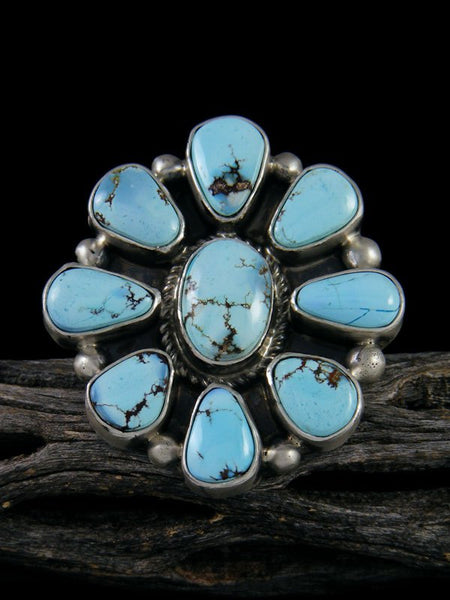 Golden Hill Turquoise Cluster Ring, Size 9
