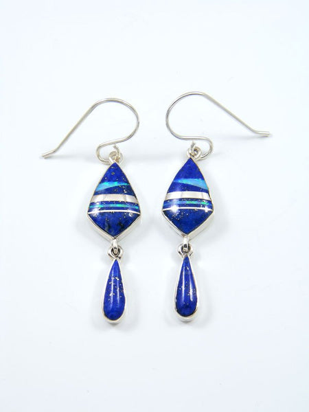 Lapis and Opalite Inlay Dangle Earrings