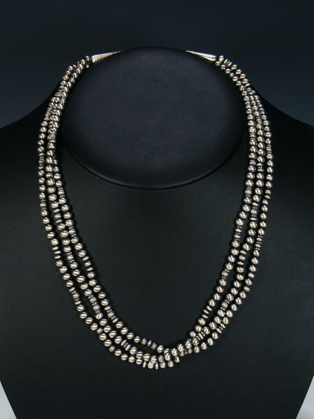 Navajo Pearl Sterling Silver Bead Triple Strand Necklace