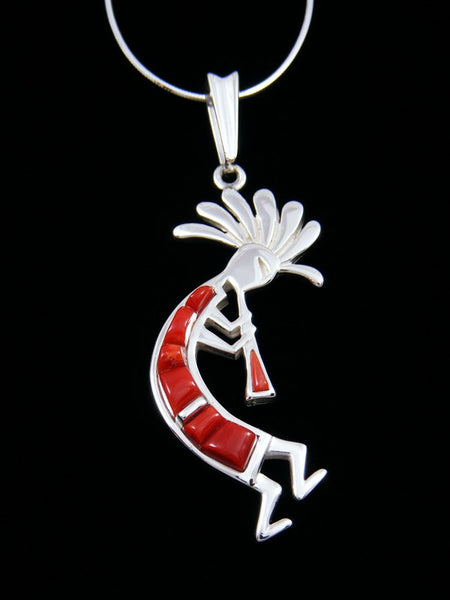 Navajo Necklace Coral Kokopelli Sterling Silver Pendant