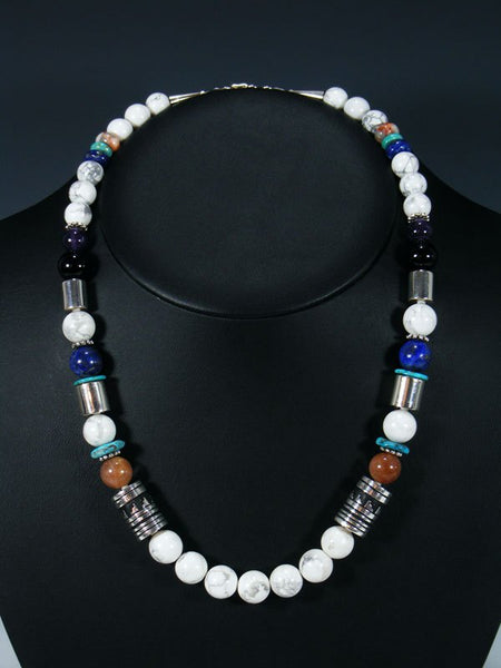 "White Marble 21"" Single Strand Beaded Necklace"