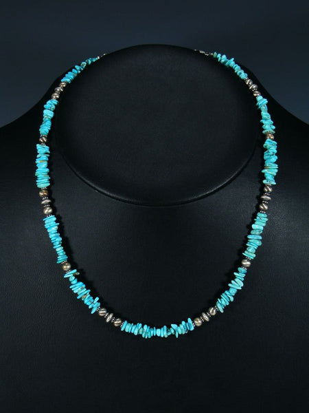 Navajo Single Strand Kingman Turquoise Sterling Silver Bead Necklace