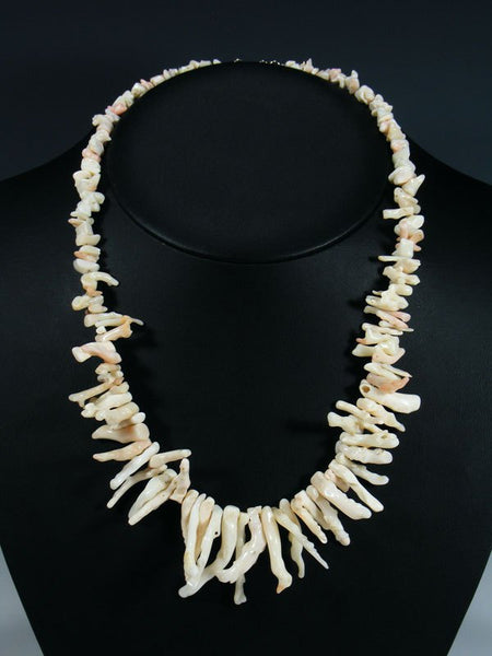 Native American Jewelry White Branch Coral Necklace
