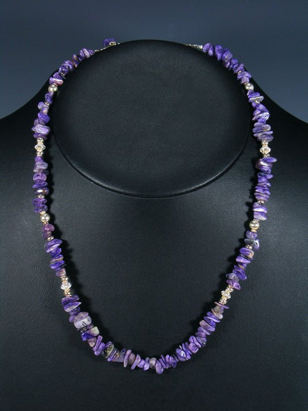 Navajo Purple Charoite Sterling Silver Bead Necklace
