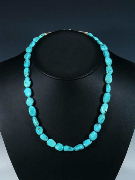"20"" Native American Indian Jewelry Single Strand Turquoise Necklace"