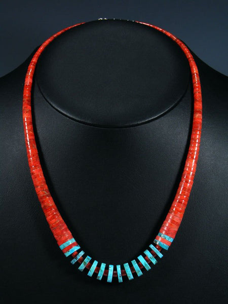 Native American Santo Domingo Turquoise and Apple Coral Necklace