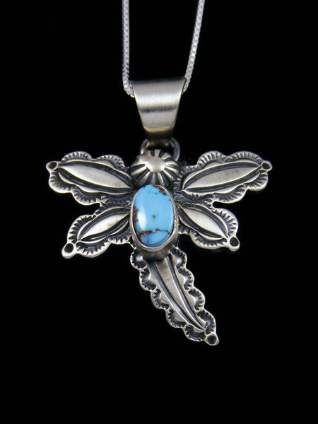Native American Golden Hill Turquoise Sterling Silver Dragonfly Pendant
