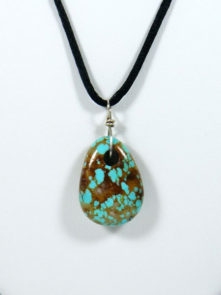 Turquoise Tear Drop Tab Choker Cord Necklace