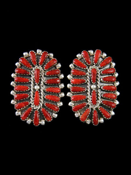 Native American Deep Red Coral Post Earrings