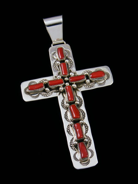 Native American Sterling Silver Coral Cross Pendant