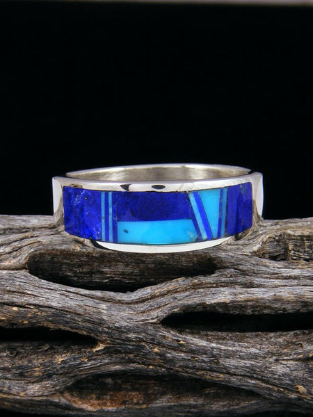 Turquoise and Lapis Inlay Ring, Size 12 1/2