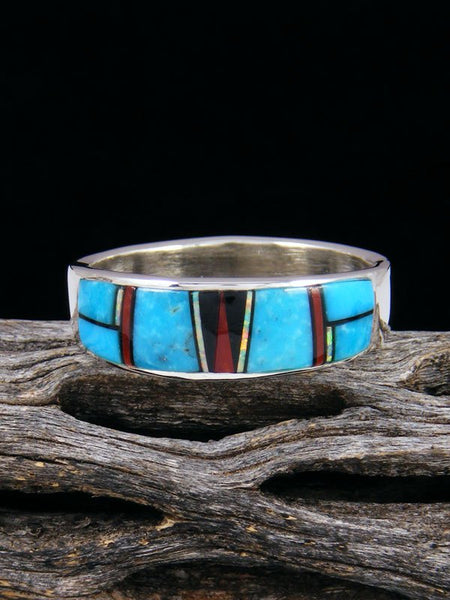 Multistone Inlay Ring, Size 13 1/2