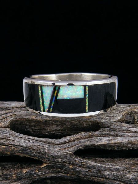 Onyx and Opalite Inlay Ring, Size 10