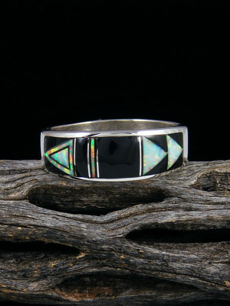 Onyx and Opalite Inlay Ring, Size 11 1/2