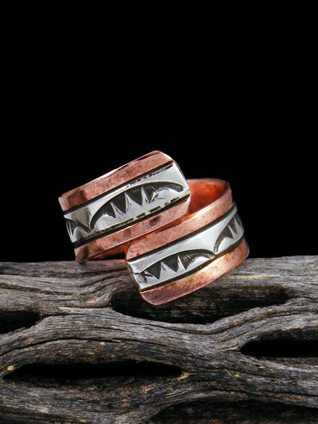 Copper and Sterling Silver Adjustable Ring