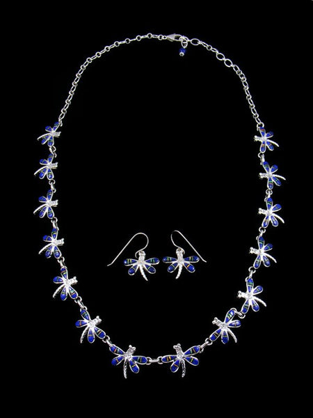 Native American Lapis Inlay Dragonfly Necklace and Earrings Set