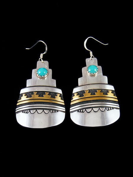 Navajo Sterling Silver and Gold Overlay Dangle Turquoise Earrings