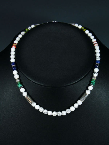 "White Marble 16"" Single Strand Choker Beaded Necklace"